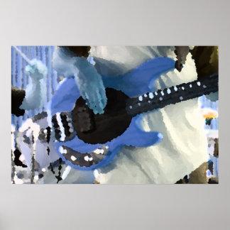 bass player painterly blue four string bass hands poster
