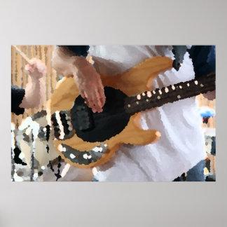 bass player painterly four string bass hands drumm poster