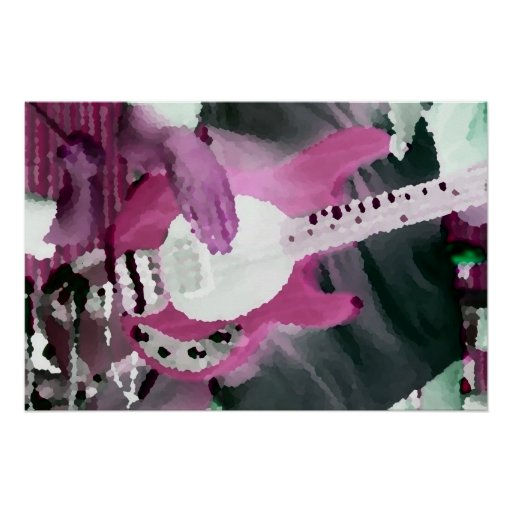 bass player painterly invert mag four string bass poster