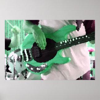 bass player painterly mint four string bass hands poster
