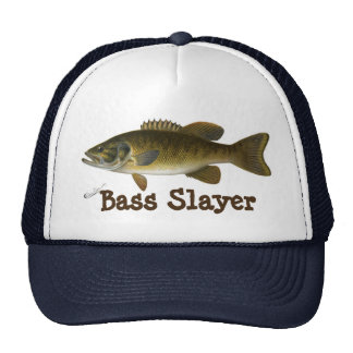"""""""Bass Slayer"""" with Smallmouth Bass Painting Trucker Hat"""