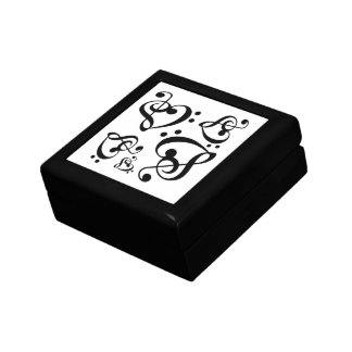 Bass Treble Clef Heart Music Pattern Tile Box Gift Boxes
