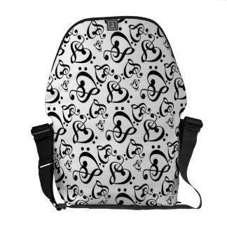 Bass Treble Clef Hearts Music Notes Pattern Courier Bags