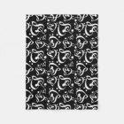 Bass Treble Clef Hearts Music Notes Pattern Fleece Blanket