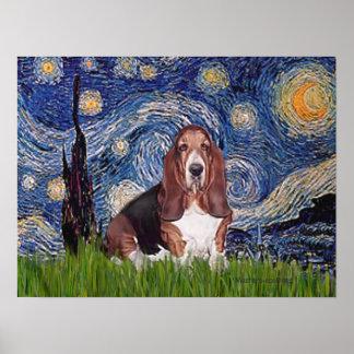 Basset 1 - Starry Night Poster
