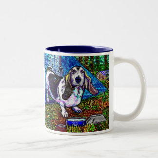 Basset Camping Two-Tone Coffee Mug