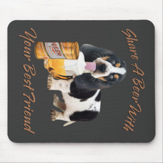Basset Drinking a beer Mouse Pad