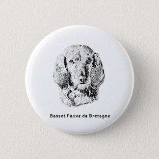 Basset Fauve de Bretagne Drawing 2 Inch Round Button