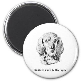 Basset Fauve de Bretagne Drawing 2 Inch Round Magnet