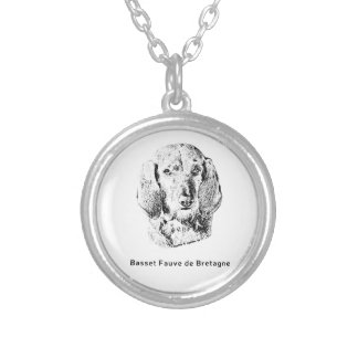 Basset Fauve de Bretagne Drawing Silver Plated Necklace