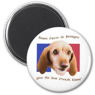 Basset Fauve deBretagne Give Best French Kisses 2 Inch Round Magnet