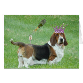 Basset Greeting Card with Champagne and Necklace