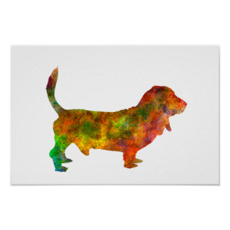 Basset Hound 01 in watercolor 2 Poster