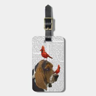 Basset Hound and Birds Luggage Tag