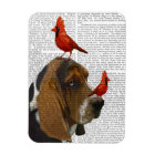 Basset Hound and Birds Magnet