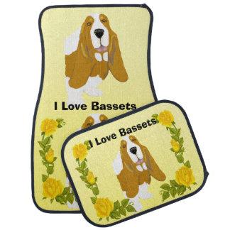 Basset Hound and Yellow Roses Car Mat