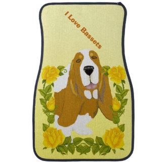 Basset Hound and Yellow Roses Floor Mat