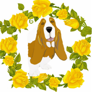 Basset Hound and Yellow Roses Photo Sculpture