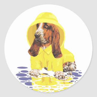 Basset Hound April Showers Classic Round Sticker