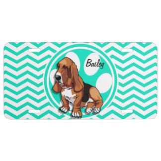 Basset Hound; Aqua Green Chevron License Plate