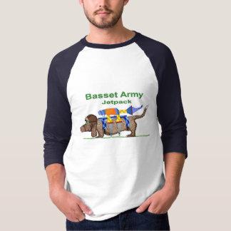 Basset Hound Army - Jetpack, Pop Art by Jon David T-Shirt