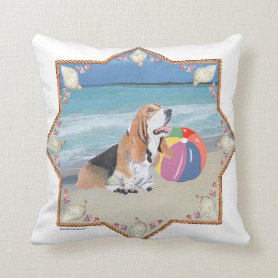 Basset Hound at the Beach Throw Pillow