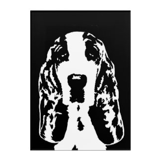 Basset Hound Black & White Acrylic Wall Art
