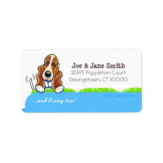 Basset Hound Blue Couch Pet Name Personalized Label