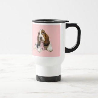Basset Hound Breast Cancer Travel Mug