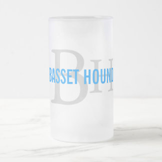 Basset Hound Breed Monogram Design Frosted Glass Beer Mug