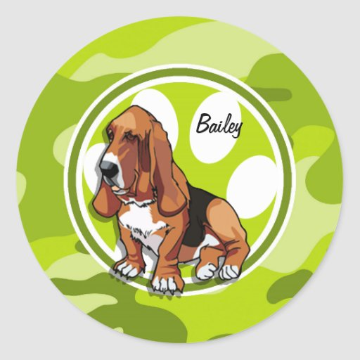 Basset Hound; bright green camo, camouflage Round Sticker