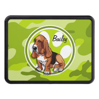 Basset Hound; bright green camo, camouflage Trailer Hitch Cover