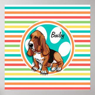 Basset Hound Bright Rainbow Stripes Print