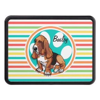 Basset Hound; Bright Rainbow Stripes Tow Hitch Covers