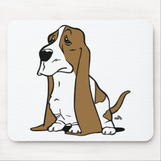 Basset hound cartoon mouse pad