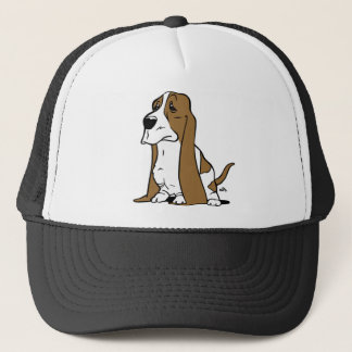 Basset hound cartoon trucker hat