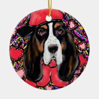 Basset Hound Ceramic Ornament