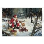 Basset Hound Christmas Card Santa Woods