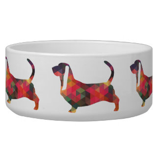 Basset Hound Colorful Geometric Pattern Silhouette