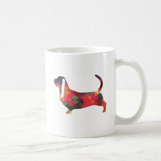 Basset Hound Colorful Geometric Pattern Silhouette Coffee Mug