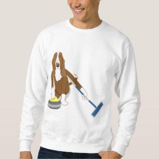 Basset Hound Curling Pullover Sweatshirt
