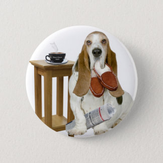 Basset Hound Daddy's Helper 2 Inch Round Button