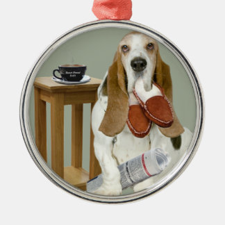 Basset Hound Daddy's Helper Metal Ornament