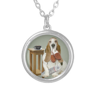 Basset Hound Daddy's Helper Silver Plated Necklace