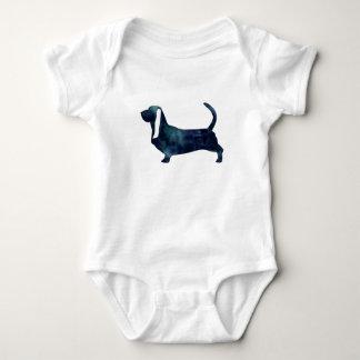 Basset Hound Dog Black Watercolor Silhouette Baby Bodysuit