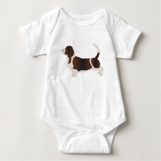 Basset Hound Dog Breed Silhouette Illustration Baby Bodysuit