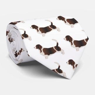 Basset Hound Dog Breed Silhouette Illustration Tie