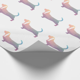 Basset Hound Dog Colorful Geometric Silhouette Wrapping Paper