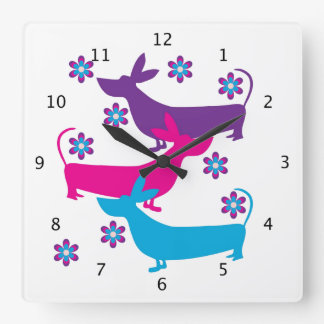 Basset Hound dog funky floral colorful retro Square Wall Clock