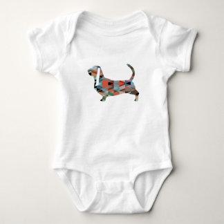 Basset Hound Dog Geometric Pattern Silhouette Baby Bodysuit